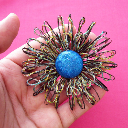 Upcycled VHS Flower Hair Clip or Brooch