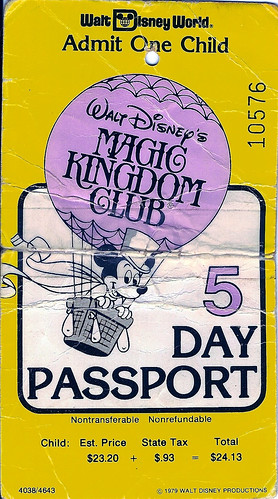 WDW 5-day child pass 1979 front