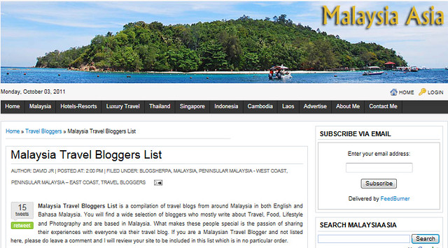 Malaysia Travel Bloggers List