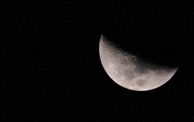 First Quarter Moon Phase - Handheld photo. Distance: 383519km Illuminated: 52.2%