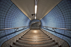 Embankment tube - Fish Eye (FJC37) Tags: blue fish london eye stairs canon tile tube curve embankment undeground
