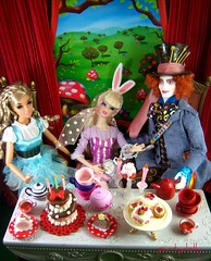 It's Teatime All The Time (partydolly) Tags: party white rabbit scale fashion one miniatures doll dolls tea alice barbie susie loves mad rement sixth madhatter diorama teaparty aliceinwonderland hatter dynamitegirls eltin partydolly