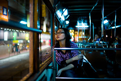 Bright and Dark (terencehonin) Tags: leica light portrait night bokeh tram brenda cinematic m9 m9p voigtlnder35mmf12noktonaspherical