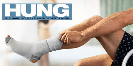 hbo hung promotional image of a white man's arm pulling up the sock on his left leg