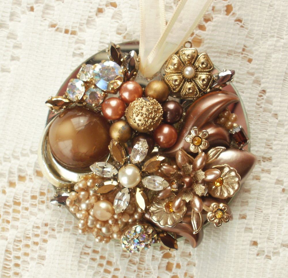 Old World Golds, AB, and Browns Vintage Jewelry Embellished Ornament
