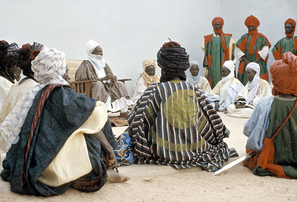 Elite bodyguards of the Emir of Katsina attending a morning greeting ceremony, Katsina, Nigeria. [slide] 1959. eepa_01383