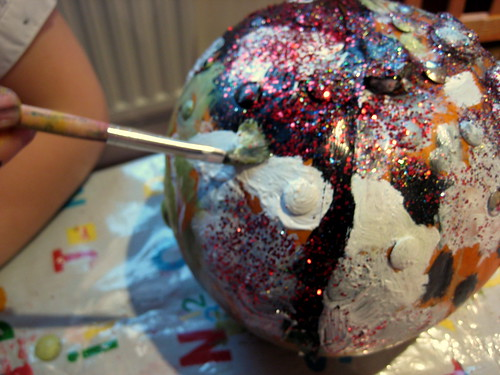 pumpkin decorating with children painting