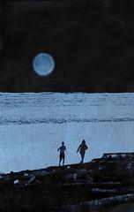 beach blues (dotintime) Tags: ocean moon beach night blues run driftwood shore meganlane dotintime
