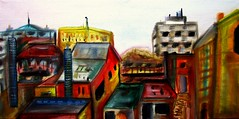 Down town Des Plaines (frank ahern) Tags: art painting frank landscape paintings oil ahern