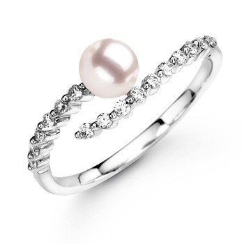 Round Akoya Cultured Pearl and Diamond Ring in 14k White Gold