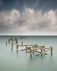 i m p e r m a n e n c e (Scott Howse) Tags: wood uk longexposure sea england sky cloud coast pier lee dorset posts filters swanage graduated nd110 09h