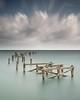 i m p e r m a n e n c e (Scott Howse) Tags: wood uk longexposure sea england sky cloud coast pier lee dorset posts filters swanage graduated nd110 09h