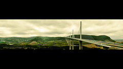 Viaduc de Millau (5500km) Tags: creissels midipyrnes france viaduc millau viaduct ponthaubans 343m tarn aveyron a75 autoroute 2460m panorama pont bridge viaducdemillau cablestayed roadbridge recorddumonde worldrecord tallestbridgeintheworld paysage landscape wallpaper