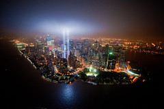 Bird's-eye view of Tribute In Lights (noamgalai) Tags: nyc newyork buildings landscape lights anniversary worldtradecenter explore helicopter lifemagazine wtc hudson 10th tributeinlight birdseye f