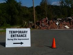Indian Orchard Mill Burned and Demolished - Springfield MA (RustyClark (hottnfunkyradio.com)) Tags: brick mill sign cone destruction arrow temporary demolished