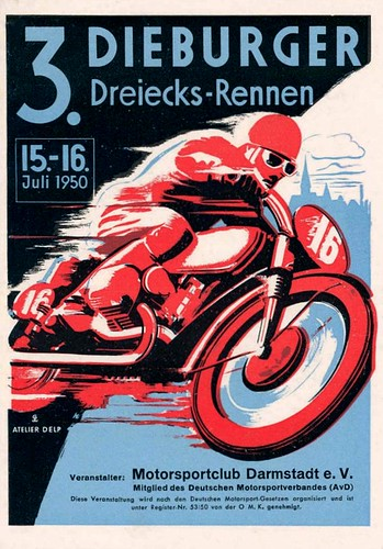 1950 German Racing Poster by bullittmcqueen