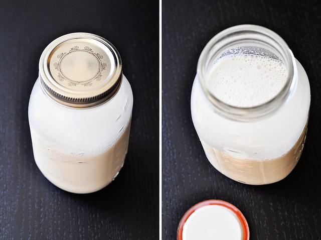 Jar of cashew milk
