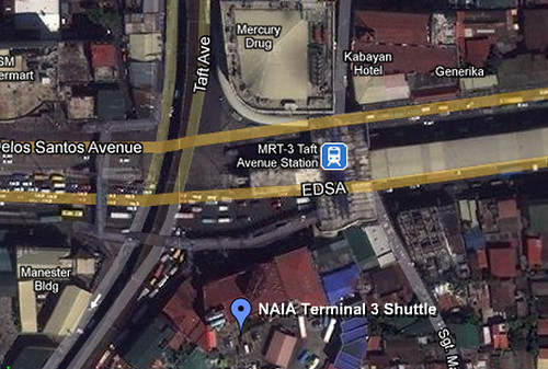 NAIA 3 shuttle bus map