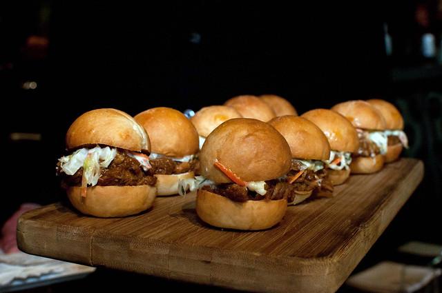Pulled pork sliders with apple-horseradish slaw