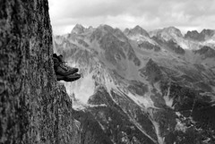 boots and mountain (Asher H) Tags: bw white snow black mountains ice 50mm nikon du climbing valley mountaineering 18 midi chamonix mont blanc arete d80 aguilels