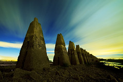 Dark stones at Cramond (Semi-detached) Tags: night clouds landscape concrete island scotland edinburgh long exposure colours stones sigma aurora 1020mm effect causeway borealis semidetached cramond