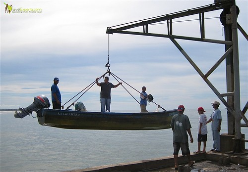fishermen with boat at pier la libertad el salvador