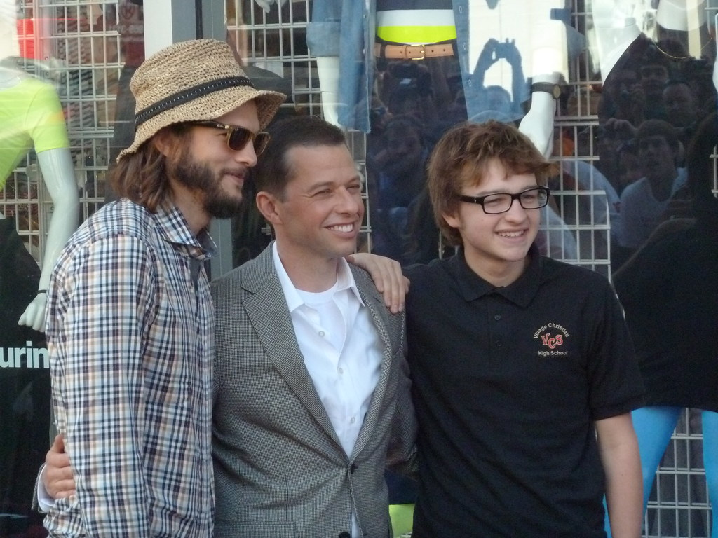"L to R: ""Two and a Half Men"" stars Ashton Kutcher, Jon Cryer and Angus T. Jones in Hollywood"