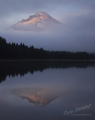 The Unveiling (Gary Randall) Tags: mist mountain lake fog clouds oregon mthood mounthood sunet trilliumlake dsc05852