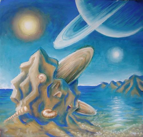 Peisaj primordial - pictura tempera