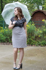 Outfit - Work outfit - Mary-Janes, umbrella, tweed skirt