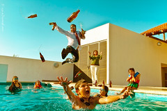 The Pool Party Takeover (eDamak) Tags: life family party summer vacation color art water beer pool kids danger canon happy flying photo crazy jump funny holidays comic bottles beers sunday dive tie sunny suit scream 7d childs foolish swiming takeover underwatercamera flickraward flickraward5 edamak edamakmx edamakallyounet edamakedamakmxphotography
