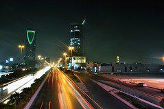 Hustle & Bustle (Wajahat Mahmood) Tags: street longexposure urban color colour cars car architecture night colorful traffic middleeast clear trail arab colourful riyadh saudiarabia ksa kingdomtower   kingdomcentre olaya   kingfahdroad kingfahadroad kingdomcenter