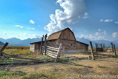 Barn on Mormon Row (kenh571) Tags: mountains barn landscape wyoming grandteton hdr mormonrow nikond3s