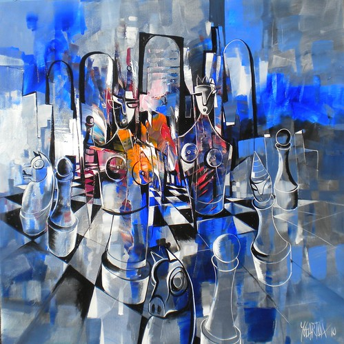 Blue Knight - Painting - Cubism