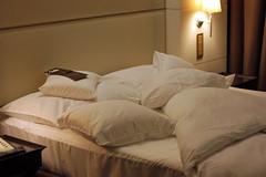hotel bed, aka: my fortress (David Lebovitz) Tags: hotel bed pillows comfort