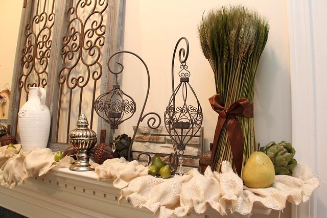 Fall mantel with ruffled burlap garland