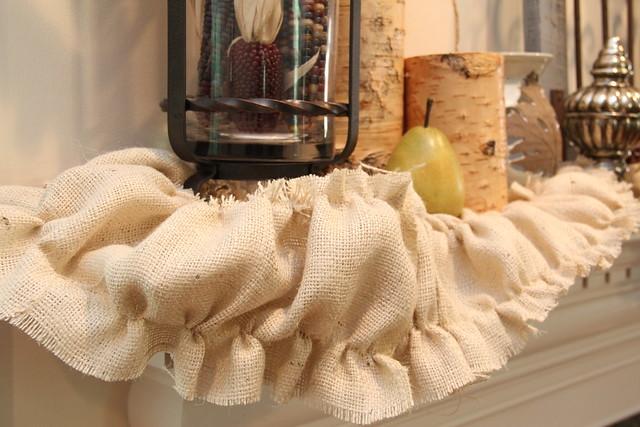 autumn mantel decor with ruffled burlap garland