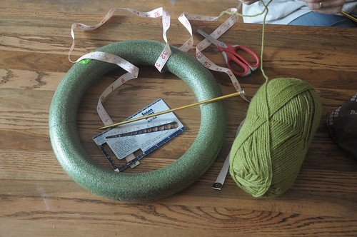supplies for knitted yarn wreath