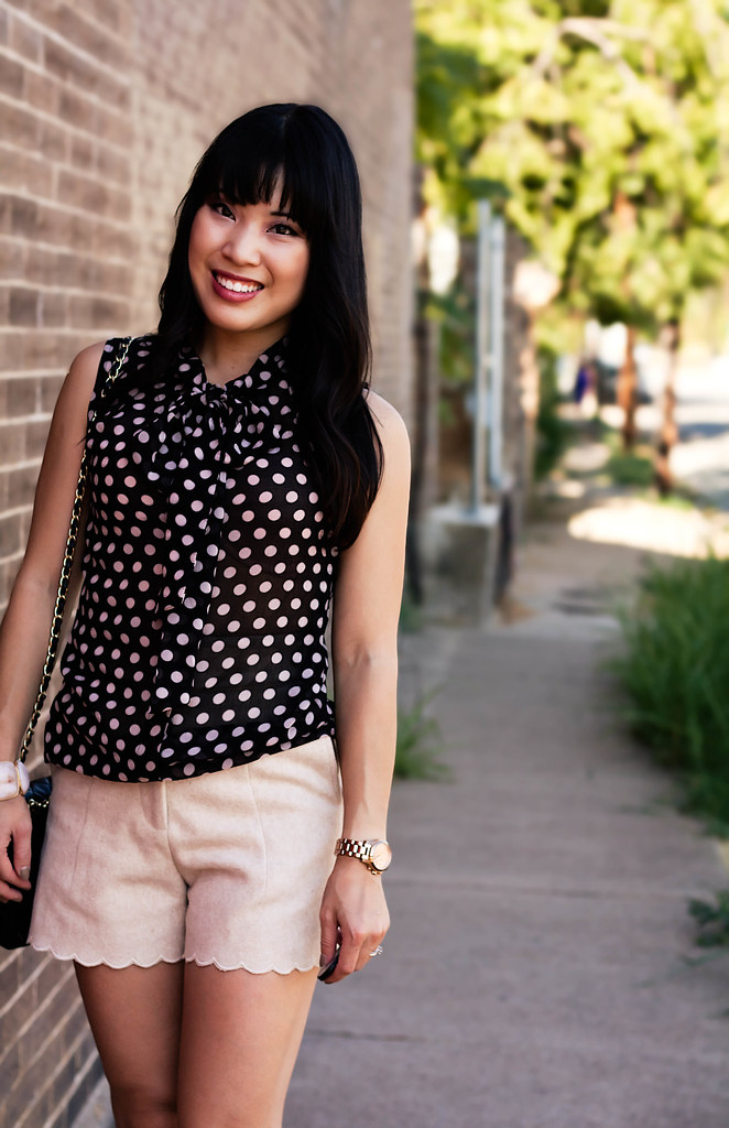 forever 21 polka-dot pussybow blouse, h&m wool scalloped shorts, sole society marco santi dash nude pumps, mk5430 rose gold small runway watch