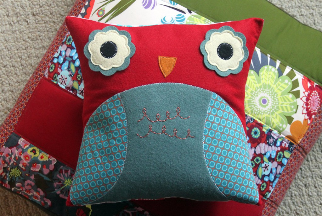 Red & Aqua Owl Pillow