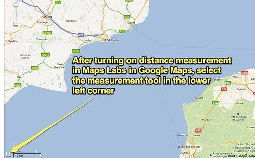 Measurement tool in Google Maps