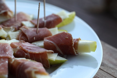 Manchengo and Prociutto Wrapped Pears Appetizer