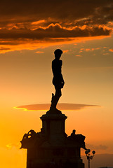 David in Florence (Yuliya Bahr) Tags: sunset shadow red sky italy sculpture sun david black silhouette statue clouds florence michelangelo piazzalemichelangelo
