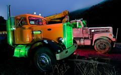 Duel (Matt Grans Photography) Tags: light wallpaper fog night painting photography big nikon long exposure semi hills tokina rig trucks 1224mm peterbilt d90 mattgranz