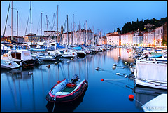 Piran - Piran Harbour and St. George's Church in the distance (Yen Baet) Tags: ocean city travel sunset panorama cliff seascape alps classic water architecture night port marina landscape coast harbor boat town seaside twilight europe mediterranean waterfront view harbour dusk hill scenic eu medieval quay slovenia alpine vista bluehour piran peninsula picturesque adriaticsea istria waterscape slovak slovinsko hoilday primorska slovene pirano giuseppetartini stgeorgecathedral europeancities republikaslovenija tartinisquare tartinijevtrg slovenskaistra jadranskomorje republicofslovenia gulfofpiran slovenianlittoral istriaslovena