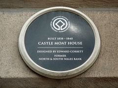 Photo of Castle Moat House, North & South Wales Bank, and Edward Corbett black plaque