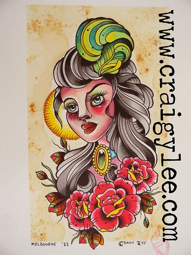 old school girls head tattoo design