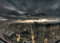 cloudy dramatics over west loop Chicago (Rasidel Slika) Tags: sunset sky chicago texture architecture clouds canon buildings movement horizon wideangle fisheye clear 7d westloop hdr rapture hdri uwa 65mm opteka samyang rokinon