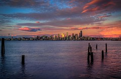 Sunset from West Seattle (Fresnatic) Tags: seattle pink sunset orange buildings cityscapes westseattle pacificnorthwest pugetsound washingtonstate hdr elliotbay seattleskyline photomatix canonrebelxsi fresnatic