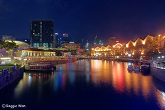 Clarke Quay at night. (Reggie Wan) Tags: city tourism night evening singapore asia southeastasia cityscape dusk bluehour touristattraction clarkequay singaporeriver rivercruise moderncity riversidepoint asiancity reggiewan sonya850 sonyalpha850 gettyimagessingaporeq1